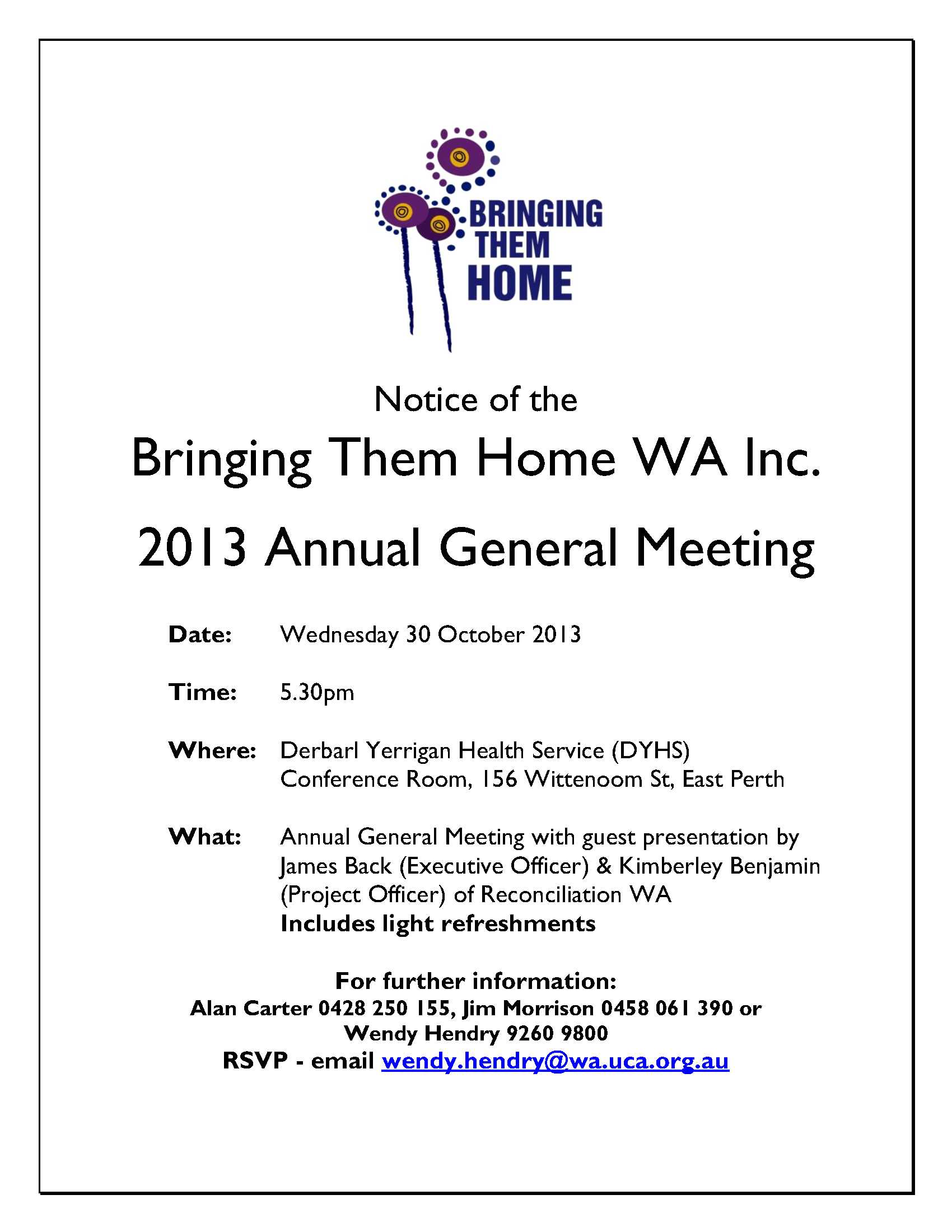 Notice of agm 30 october 2013 bringing them home wa notice of bth agm october 2013 altavistaventures Gallery